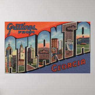 Atlanta, Georgia - Large Letter Scenes 2 Posters