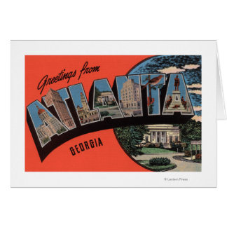 Atlanta, Georgia - Large Letter Scenes Greeting Cards