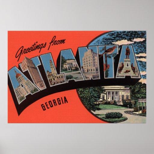 Atlanta, Georgia - Large Letter Scenes Poster