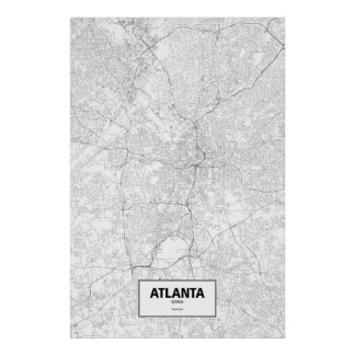 Atlanta, Georgia (negro en blanco) Poster