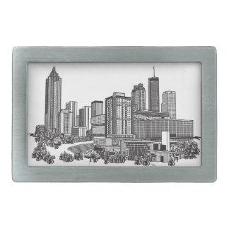Atlanta Georgia Skyline Art Rectangular Belt Buckle