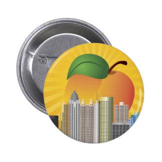 Atlanta Georgia y botón del melocotón Pin Redondo De 2 Pulgadas