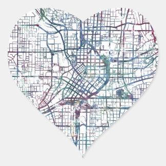atlanta map painting pegatina en forma de corazón