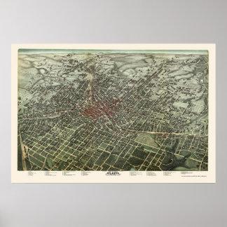 Atlanta, mapa panorámico del GA - 1892 Póster