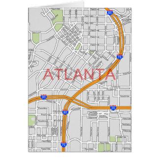 Atlanta Peachtree Road Map Greeting Card