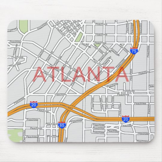 Atlanta Peachtree Road Map Mouse Pad