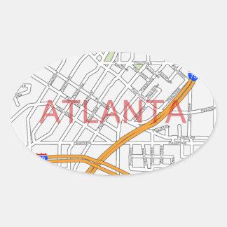 Atlanta Peachtree Road Map Oval Sticker