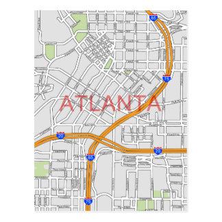 Atlanta Peachtree Road Map Post Card
