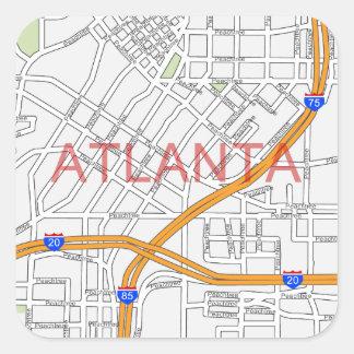 Atlanta Peachtree Road Map Square Sticker