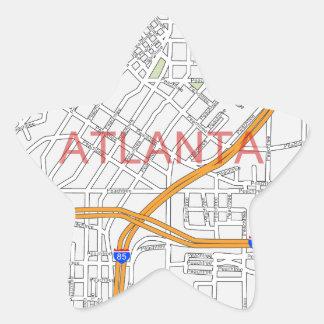 Atlanta Peachtree Road Map Star Sticker