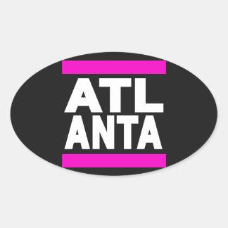 Atlanta Pink Oval Sticker