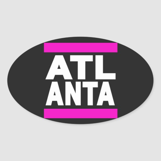 Atlanta Pink Oval Stickers