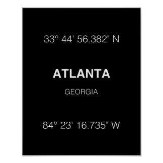 Atlanta poster - Atlanta Coordinates - kind print