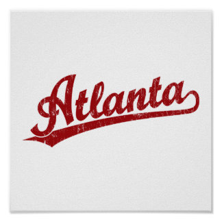 Atlanta script logo in red poster