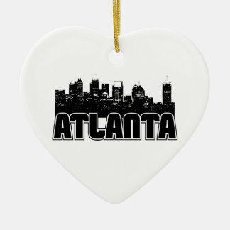 Atlanta Skyline Double-Sided Heart Ceramic Christmas Ornament