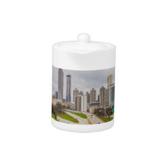 Atlanta skyline over highway teapot