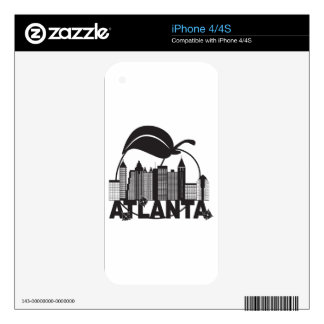 Atlanta Skyline Peach Dogwood Black White Text Skin For iPhone 4S