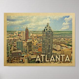 Atlanta Skyline Vintage Travel Poster