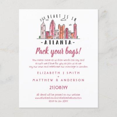 ATLANTA Skyline Wedding Invitation Handdrawn