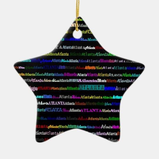 Atlanta Text Design I Star Ornament