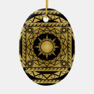 Atlantean Crafts Brass on Black Ceramic Ornament