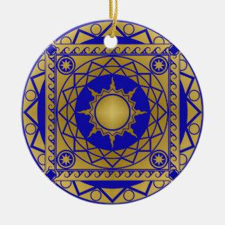 Atlantean Crafts Brass on Blue Ceramic Ornament