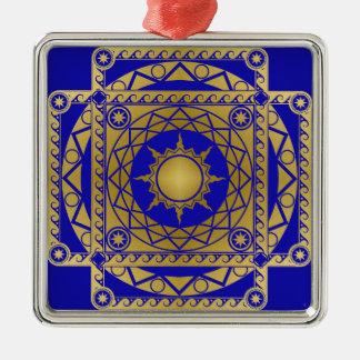 Atlantean Crafts Brass on Blue Metal Ornament
