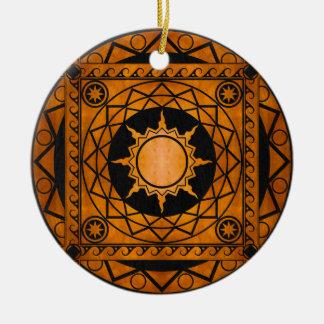 Atlantean Crafts Copper on Black Leather Ceramic Ornament