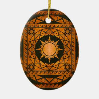 Atlantean Crafts Copper on Green Leather Ceramic Ornament