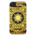Atlantean Crafts Gold on Black Leather iPhone 4 Case-Mate Case