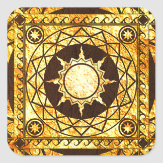 Atlantean Crafts Gold on Brown Leather Square Sticker