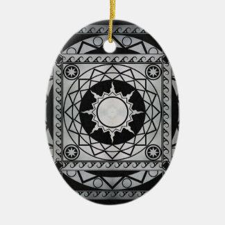 Atlantean Crafts Silver on Black Leather Ceramic Ornament