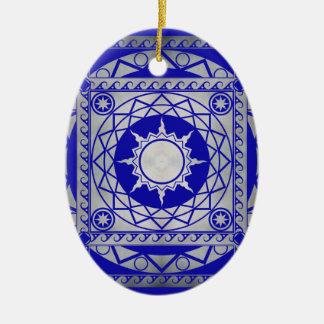 Atlantean Crafts Silver on Blue Ceramic Ornament