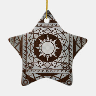 Atlantean Crafts Silver on Brown Leather Ceramic Ornament