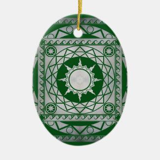 Atlantean Crafts Silver on Green Ceramic Ornament