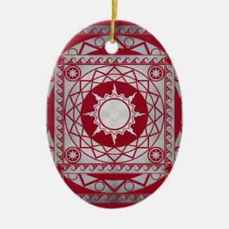 Atlantean Crafts Silver on Red Ceramic Ornament
