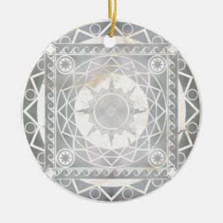 Atlantean Crafts Silver on White Marble Ceramic Ornament