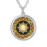 Atlantean Gold on Black Round Pendant Necklace