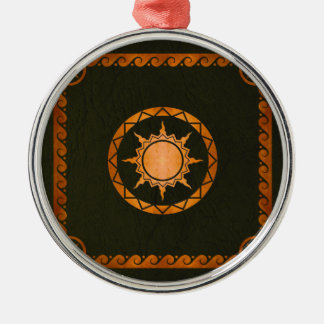 Atlantean Sky Copper on Green Leather Metal Ornament