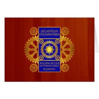 Atlantean Steamworks - Gold and Blue on Cherrywood Card