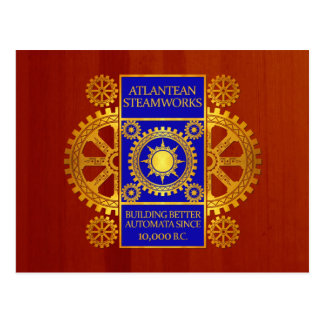 Atlantean Steamworks - Gold and Blue on Cherrywood Postcard