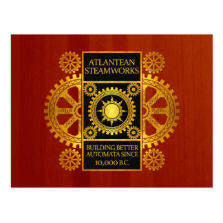 Atlantean Steamworks - Gold & Black on Cherrywood Postcard