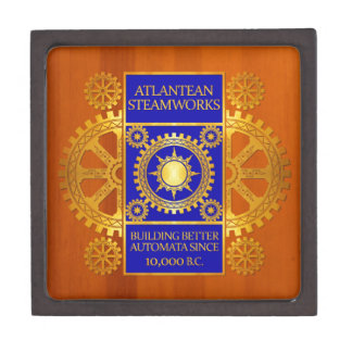Atlantean Steamworks - Gold & Blue on Amber Wood Keepsake Box