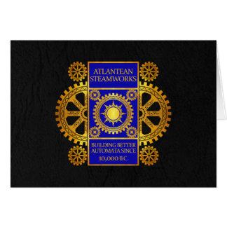 Atlantean Steamworks - Gold & Blue on Black Card