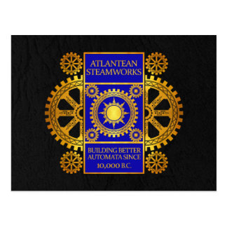 Atlantean Steamworks - Gold & Blue on Black Postcard
