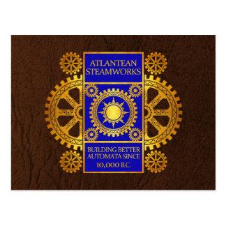 Atlantean Steamworks - Gold & Blue on Brown Postcard