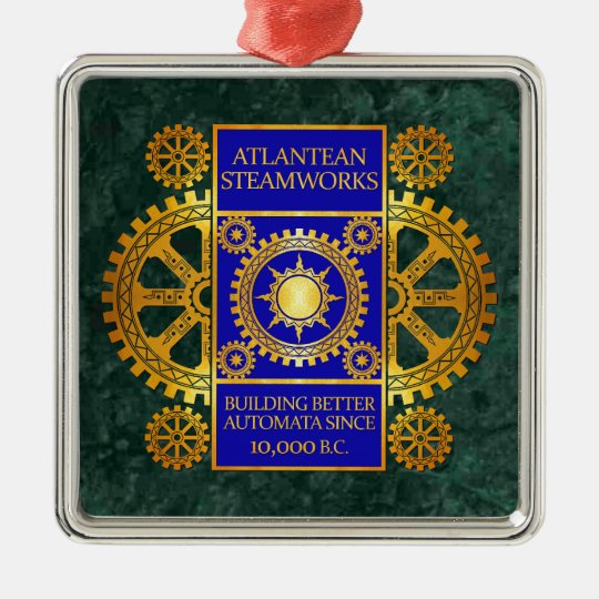 Atlantean Steamworks - Gold & Blue on Green Marble Metal Ornament
