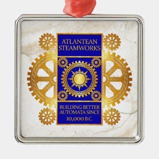 Atlantean Steamworks - Gold & Blue on White Marble Ornament