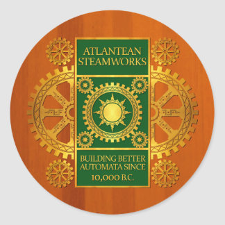 Atlantean Steamworks - Gold & Green on Amber Wood Classic Round Sticker