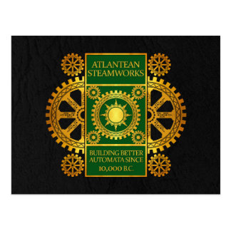 Atlantean Steamworks - Gold & Green on Black Postcard